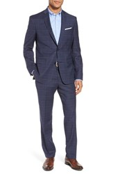 Nordstrom Men's Shop Trim Fit Plaid Stretch Wool Travel Suit Navy