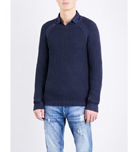 Replay Crewneck Cotton Jumper Dark Blue