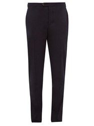 Thom Sweeney Brushed Cotton Blend Gabardine Trousers Navy