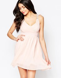 Club L Wrap Front Dress With Crochet Straps Nude Pink