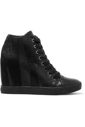 Dkny Calf Hair And Leather Wedge Sneakers Black