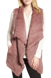 Love Token Long Drape Genuine Rabbit Fur Vest Rose