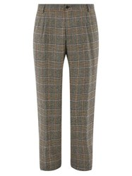 Dolce And Gabbana Glen Check Wool Blend Trousers Black Multi