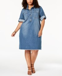 Styleandco. Style Co Plus Size Cotton Raw Hem Denim Shirtdress Firestone