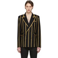 Saint Laurent Black Wool Gabardine Striped Blazer