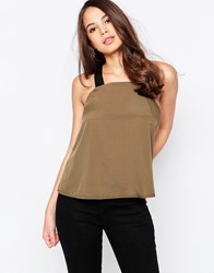 Ax Paris Elasticated Strap Cami Khaki Green