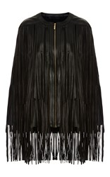 Elie Saab Leather Fringe Cape Black