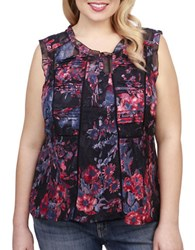 Lucky Brand Plus Roundneck Floral Print Blouse Navy