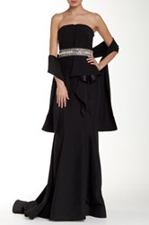 Mikael Aghal Jeweled Strapless Gown With Shawl Black