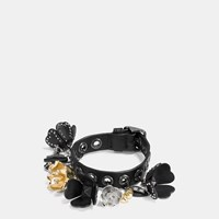 Coach Leather Eyelet Tea Rose Charm Bracelet Black Multicolor