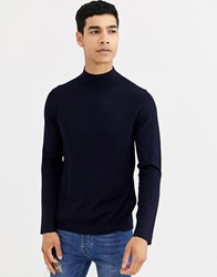 Celio Mock Neck Jumper In Navy