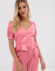 Moon River Puff Sleeve Peplum Satin Top Pink