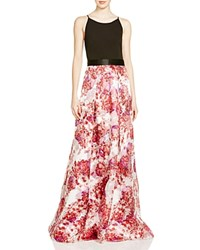 Aidan Mattox Jersey Bodice And Printed Organza Skirt Gown 100 Bloomingdale's Exclusive Red Multi