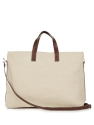 Frescobol Carioca Leather Trimmed Canvas Tote Beige