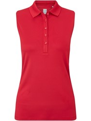 Callaway Chev Solid Sleeveless Polo Red
