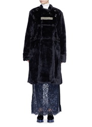 Toga Archives Embroidered Trim Faux Fur Coat Black