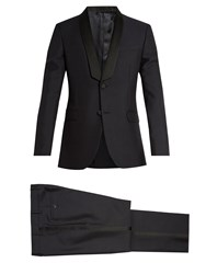 Valentino Shawl Collar Wool And Mohair Blend Tuxedo Navy
