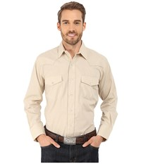 Roper 9844C2 Solid Broadcloth Lt. Tan Brown Men's Long Sleeve Button Up