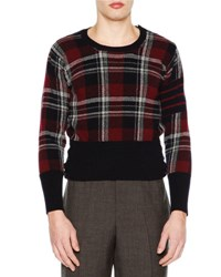 Thom Browne Tartan Plaid Crewneck Sweater Navy