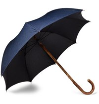 Francesco Maglia Lord Chestnut Wood Handle Twill Umbrella Navy