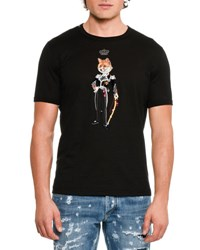 Dolce And Gabbana Crowned Fox Cotton T Shirt Black