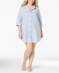Dotti Plus Size Shirtdress Cover Up Women's Swimsuit Blue White