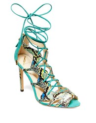 Brian Atwood B Tyra Suede Ghillie Sandals Green