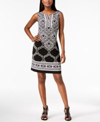 Jm Collection Printed Rhinestone Embellished Dress Created For Macy's Black Cayman Scroll