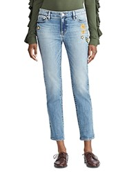 Ralph Lauren Embellished Crop Tapered Jeans In Indigo