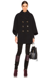 Burberry Prorsum Wool Poncho Coat In Black