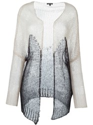 Ann Demeulemeester Two Tone Open Knit Cardigan Nude And Neutrals