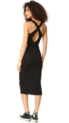 Enza Costa Ribbed Cross Back Midi Dress Black