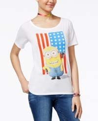 Hybrid Despicable Me Juniors' Minion Flag Graphic T Shirt By White