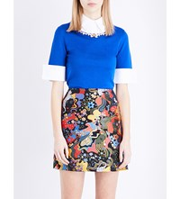 Mary Katrantzou Embellished Wool And Cotton Blend Shirt Top Electric Blue
