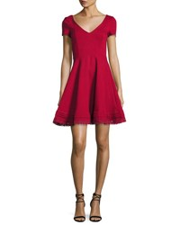 Red Valentino Short Sleeve Lace Hem Fit And Flare Dress Red