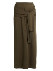 Joseph Tie Front Maxi Skirt Dark Green