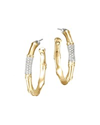 Gold Bamboo Pave Diamond Medium Hoop Earrings John Hardy Green