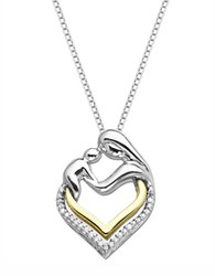 Lord And Taylor Sterling Silver 14K Yellow Gold Heart Pendant With Diamonds