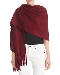 Bloomingdale's C By Solid Scarf With Laser Cut Fringe Pinot