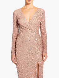 Adrianna Papell Plus Size Beaded Wrap Dress Rose Gold