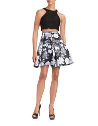 Xscape Evenings Two Piece Lace And Floral Dress Black Grey