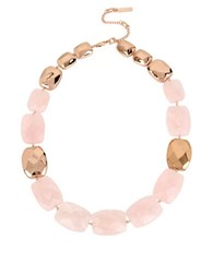 Kenneth Cole Salt Mines Rose Quartz Collar Necklace Mixed Metal