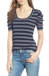 Hinge Stripe Ribbed Puff Sleeve Top Navy Maritime Marla Stripe