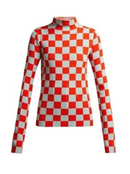 Jil Sander High Neck Checked Jersey Top Red Multi