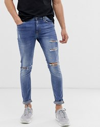 New Look Skinny Jeans With Busted Knee In Light Blue Wash