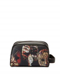Robert Graham Faux Leather Mask Print Cosmetic Bag Black Pattern