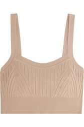 Jil Sander Ribbed Knit Bra Top Beige