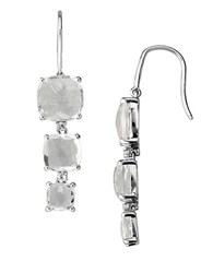 Lord And Taylor Sterling Silver Drop Earrings With White Quartz White Topaz White Quartz Silver