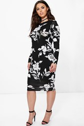 Boohoo Lottie Floral Mono Printed Midi Bodycon Dress Multi