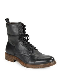 John Varvatos Leather Lace Up Boots Mineral Black